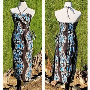 Shaheen X UV Shark Print Sarong Dress Tiki Pinup